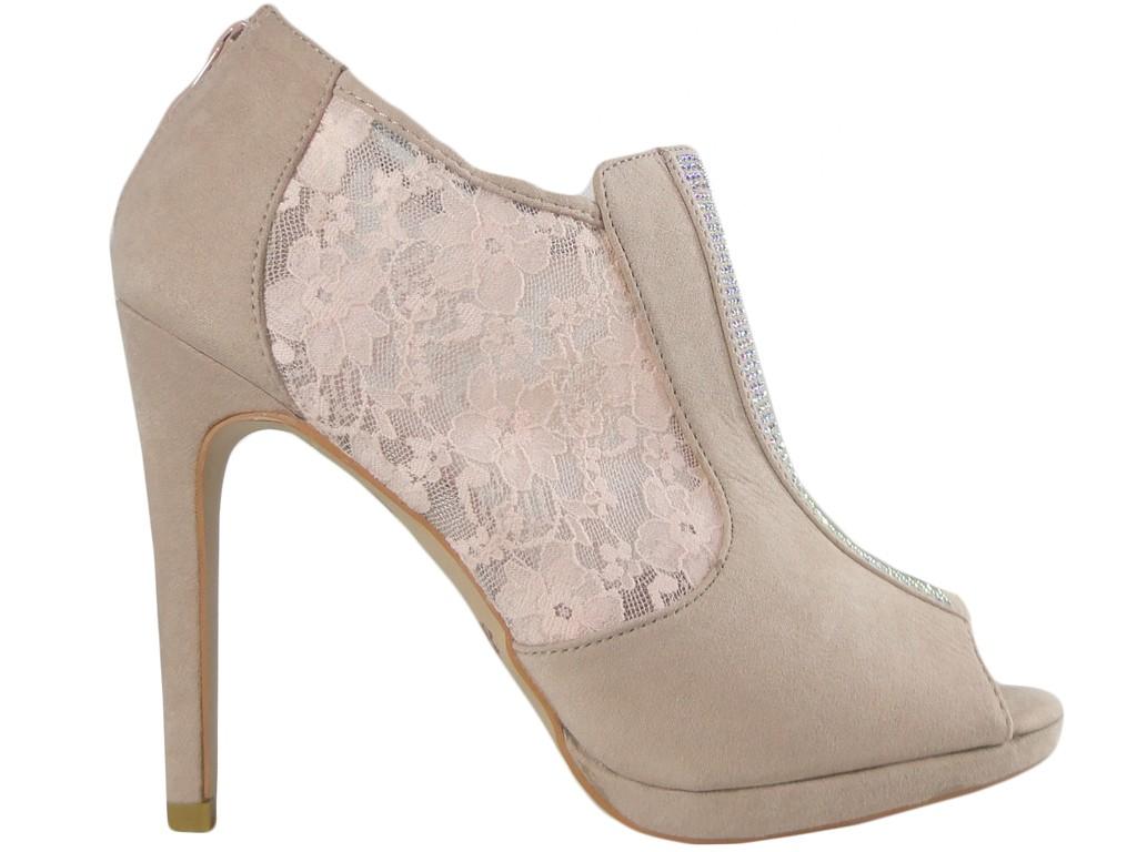 Beige women's pin sandals with zirconia - 1