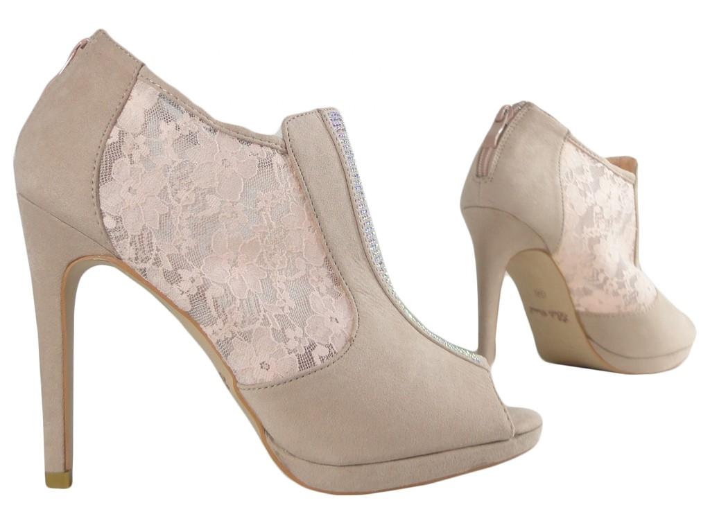 c235f173a288b Beżowe sandały damskie na szpilce z cyrkoniami - KOKIETKI