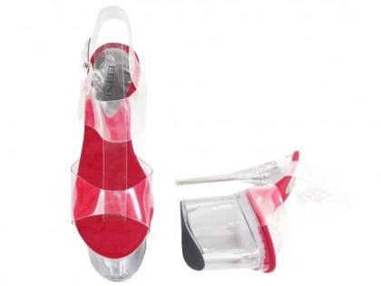 Przezroczyste buty szklanki szpilki na platformie