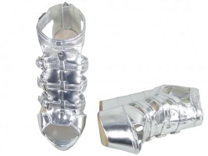 Silberne Outlet-Sandalen am Keil - 2
