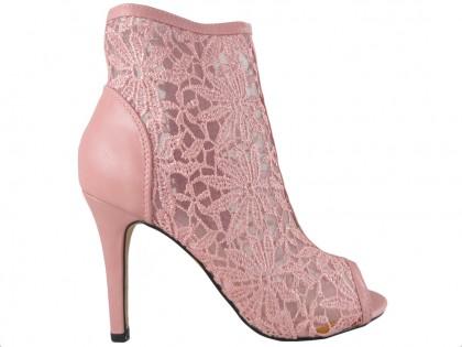 Różowe sandały ażurowe botki z haftem do kostki - 1