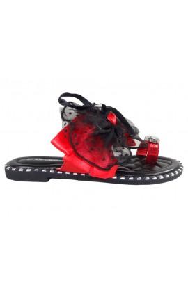 Klapki damskie czarne buty z czerwoną wstążką