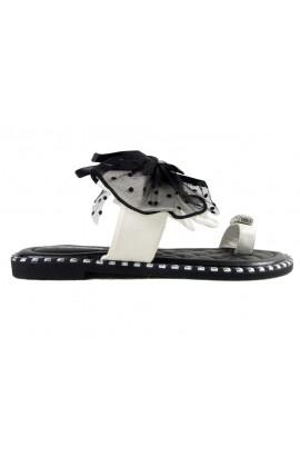 Klapki damskie czarne buty z białą wstążką