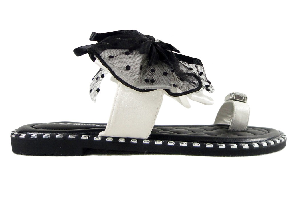 Ladies' flip flops black boots with white ribbon - 1