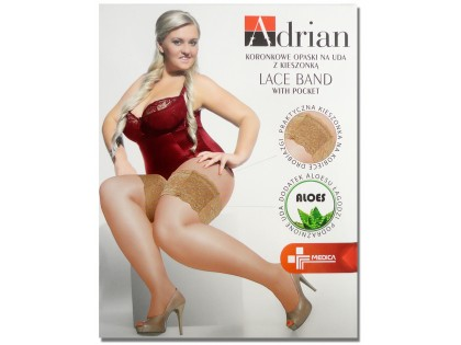 Lace thigh bands with pocket size plus - 1