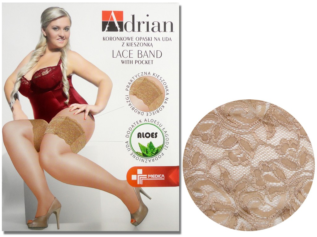 Lace thigh bands with pocket size plus - 4