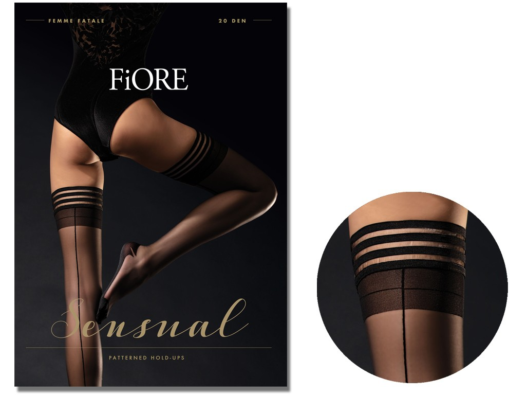 Self-supporting stockings with stitching Fiore 20 den - 3