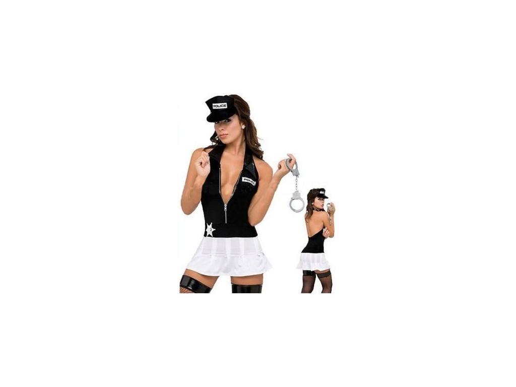 POLICJANTKA SEXI BIAŁO CZARNA PREZENT
