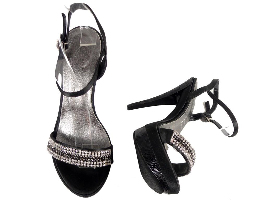 6e01bb8c Czarne sandały na szpilce buty z cyrkoniami - KOKIETKI