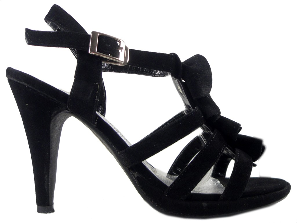 Black suede pegged sandals stylish boots - 1