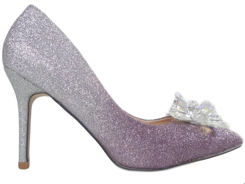 Violette Silberbrokat Ombre Heels - 1