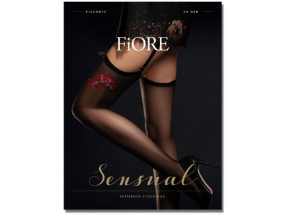 Smooth black stockings to the belt with red rose - 1