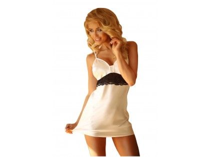 Ecru satin nightdress with lace - 1