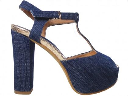 Jeans blue sandals on the pole's platform - 1