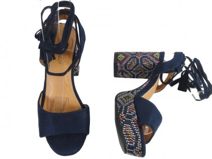 Dark blue sandals on the block and platform in boho style - 2