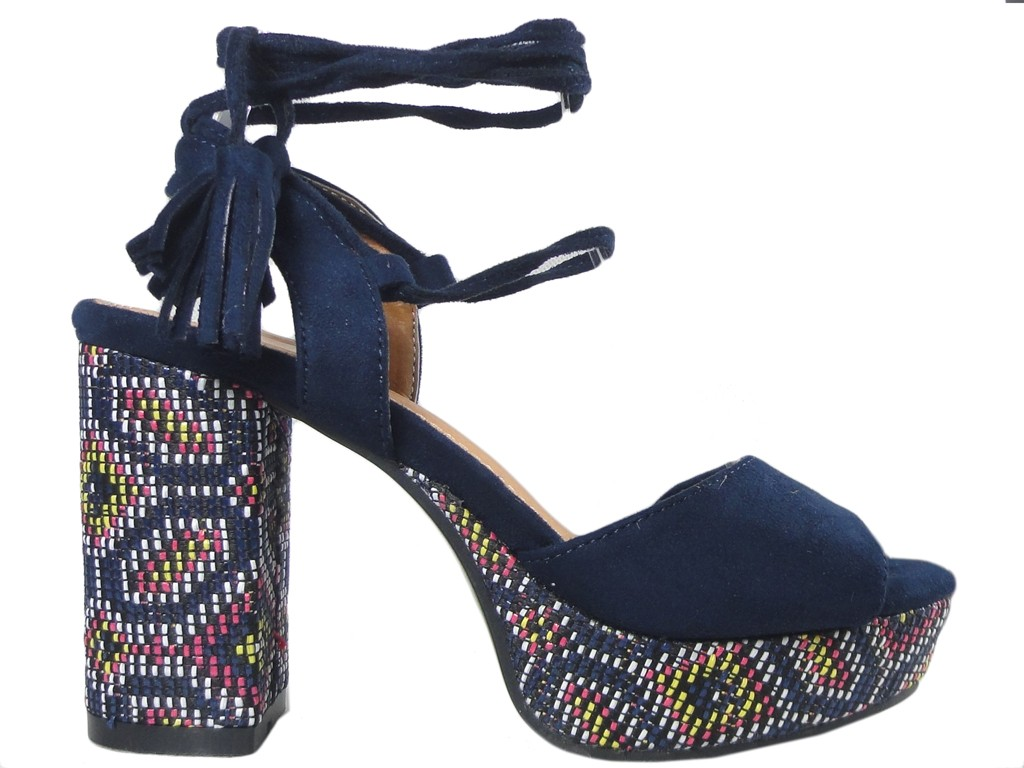 Dark blue sandals on the block and platform in boho style - 1