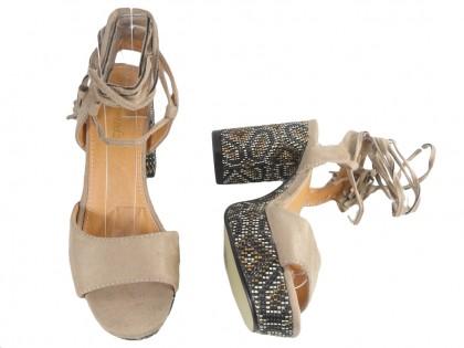 Beige women's sandals on a pole in Boho style - 2