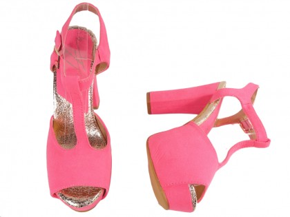 Pink sandals on the platform and the pole with a belt - 2