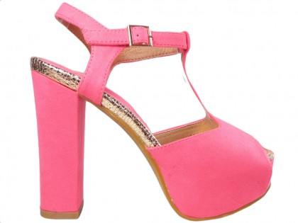 Pink sandals on the platform and the pole with a belt - 1