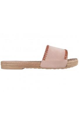 Różowe klapki damskie z cyrkoniami płaskie buty
