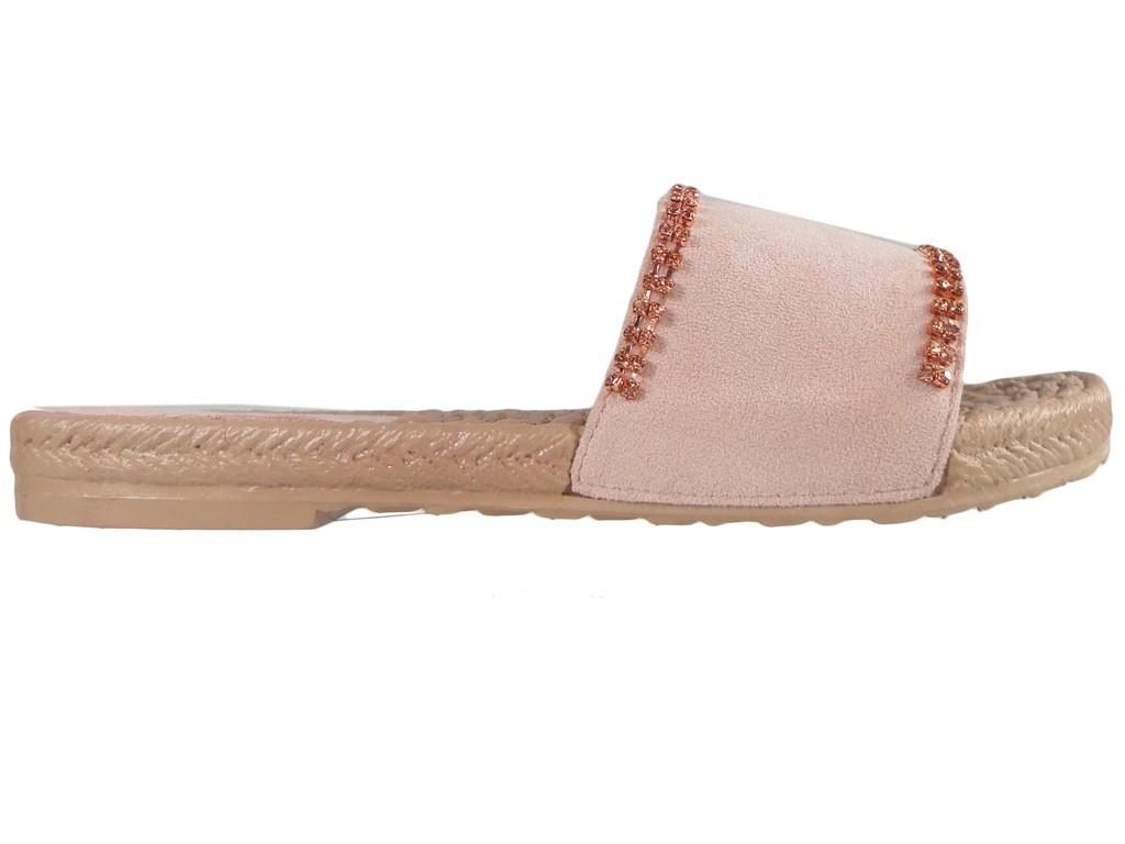 a3651637d578c Różowe klapki damskie z cyrkoniami płaskie buty - KOKIETKI