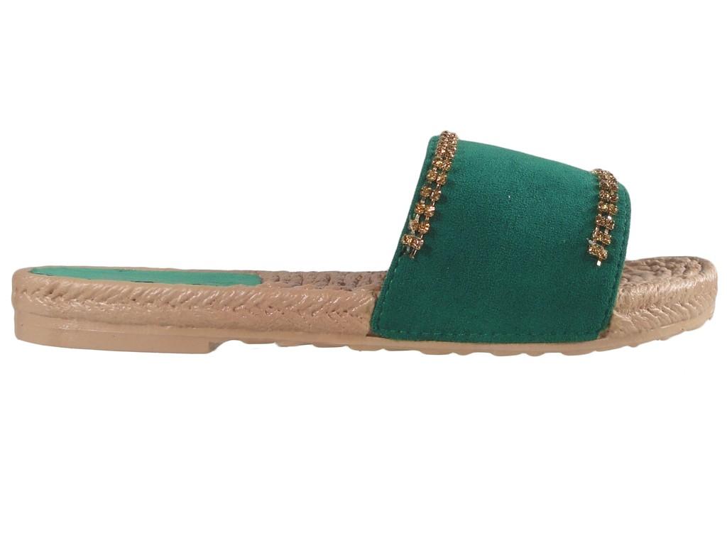 Green zirconia flaps ladies flat shoes - 1