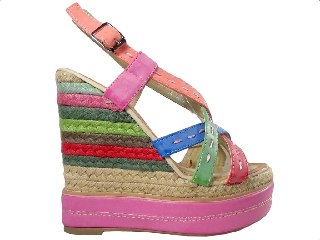 e0765599eca44 Kolorowe sandały na koturnie buty damskie - KOKIETKI