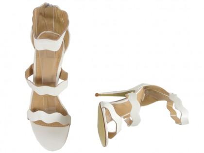 Weiße High Heels Damen Sandalen Hochzeitsschuhe - 2