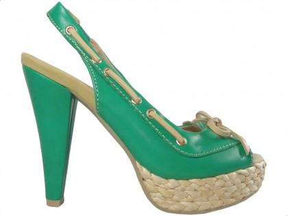 Zöld platformos szandál magas sarkú cipővel - 1