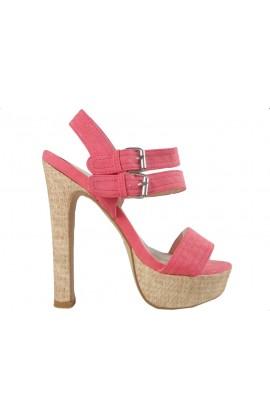 Czerwone sandały na platformie sandały na słupku