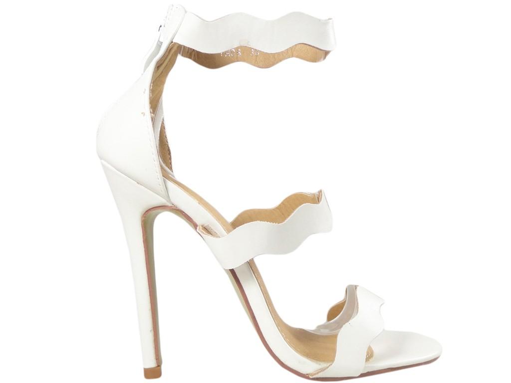 Weiße High Heels Damen Sandalen Hochzeitsschuhe - 1