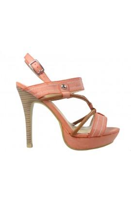 Pomarańczowe sandały na szpilce buty damskie