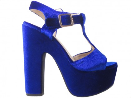 85b10199 Granatowe sandały na platformie słupek buty ...