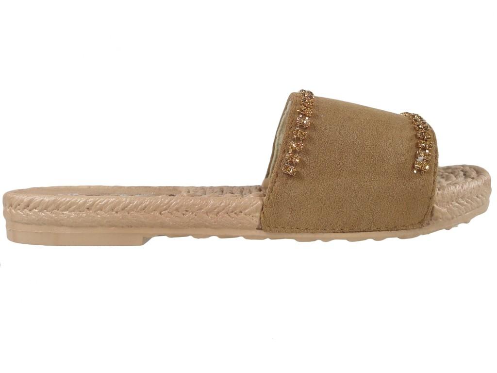 Brown camel flip-flops with zirconia flat boots - 1