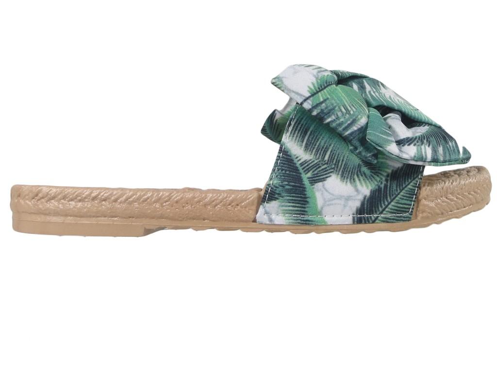 Zielone klapki damskie płaskie buty letnie