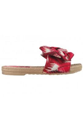 Czerwone klapki damskie płaskie buty letnie