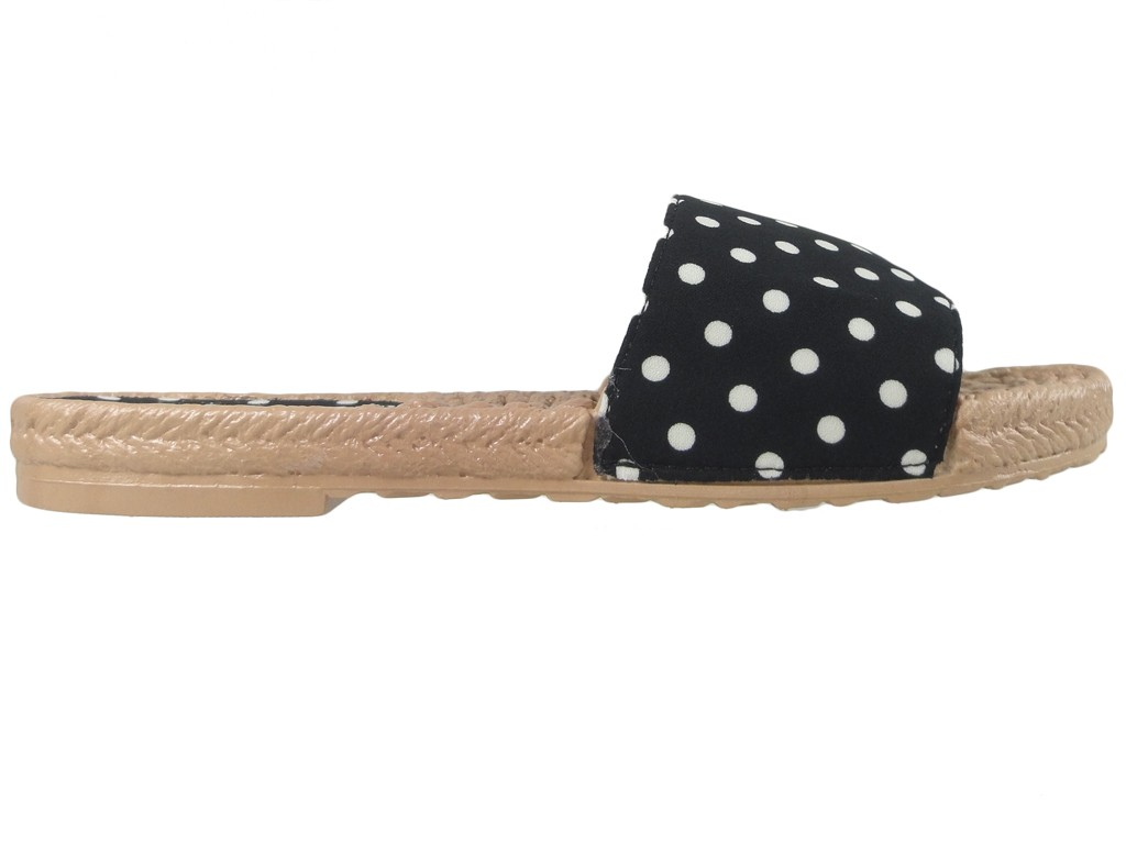 Black dotted ladies' flat shoes - 1
