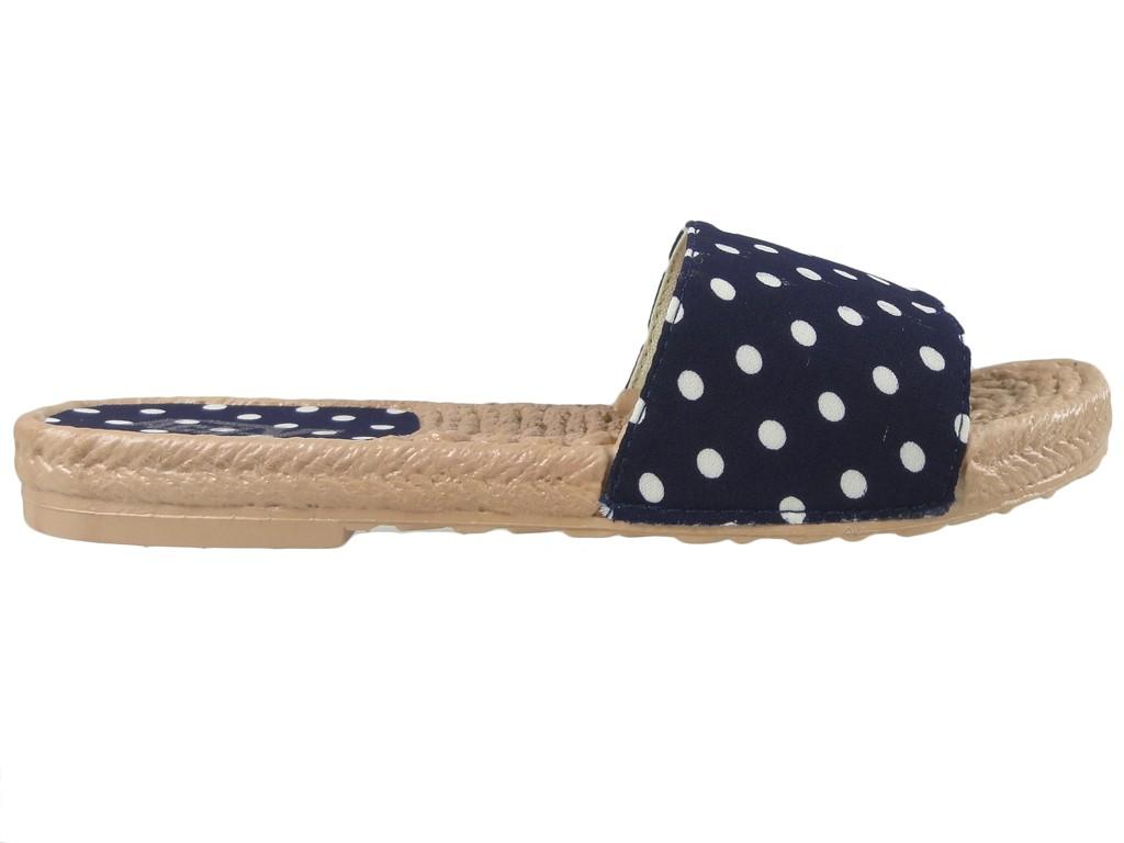 Flache Schuhe mit dunkelblauen Tupfen-Flip-Flops für Damen - 1