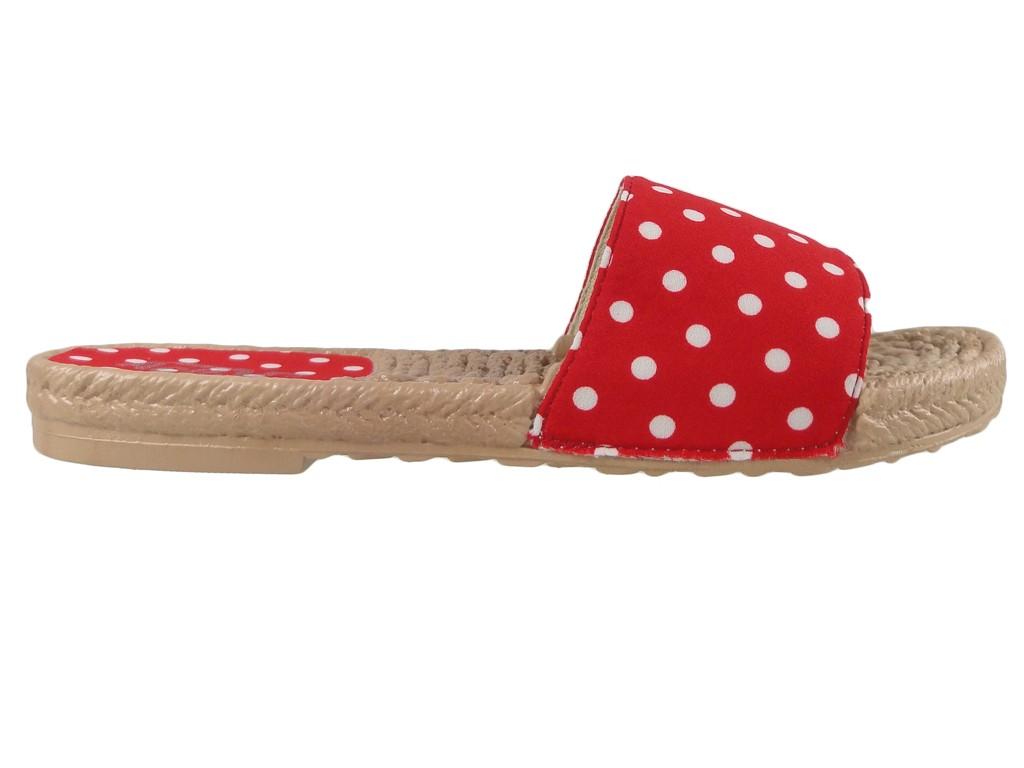 Dámské ploché pantofle s červenými puntíky - 1