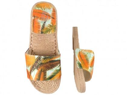 Pomarańczowe klapki damskie buty płaskie