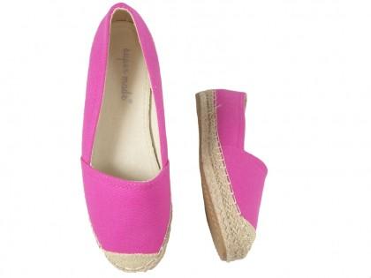 Rózsaszín espadrilles lapos cipő női cipő - 2