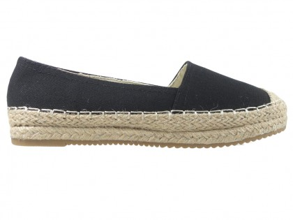 Black espadrilles flat ladies' shoes - 1
