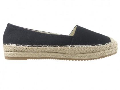 Női fekete espadrilles lapos cipő - 1