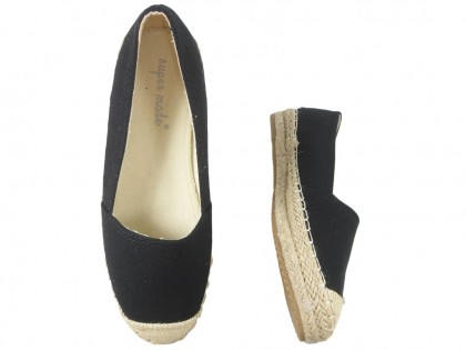 Black espadrilles flat ladies' shoes - 2
