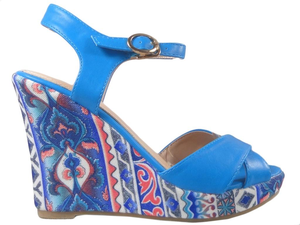 b3b34b59 Niebieskie sandały na koturnie letnie buty