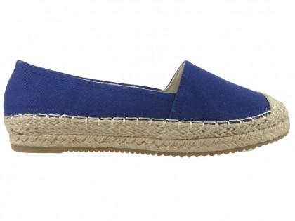 Dark blue espadrilles flat ladies' shoes - 1