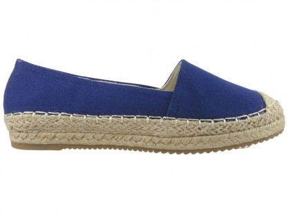 Sötétkék színű espadrilles női lapos cipő - 1