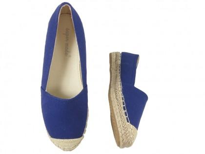 Dark blue espadrilles flat ladies' shoes - 2