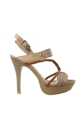 Beżowe sandały na szpilce buty damskie