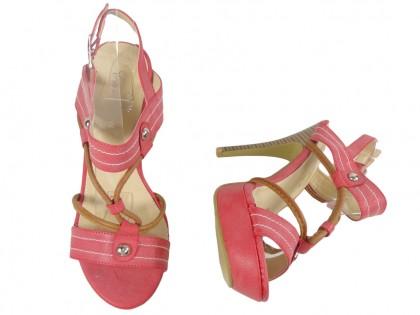 Różowe sandały na szpilce buty damskie